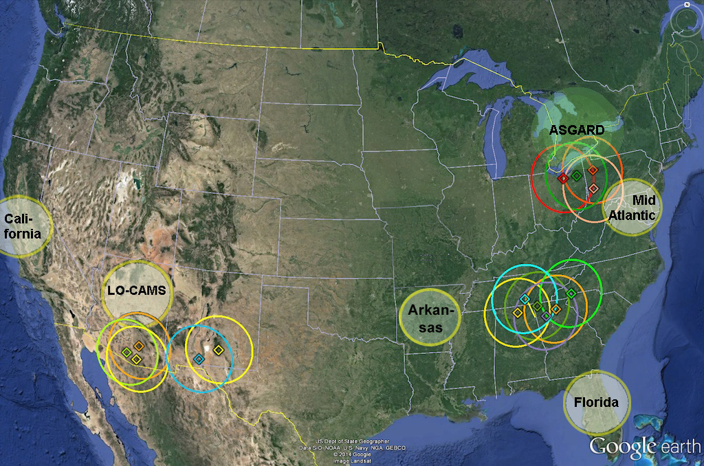Camera coverage area in the United States for the high-resolution NASA's  Cameras for Allsky Meteor Surveillance project (CAMS). Mid-Atlantic,  Florida and ...